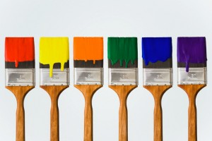 Colorful Paint on Paintbrushes