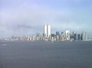 New York, skyline con Torri Gemelle, prima dell'attentato dell'11 settembre 2001