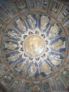 """Ravenna, Battistero Neoniano, """"Il battesimo di Cristo circondato dai 12 apostoli"""""""