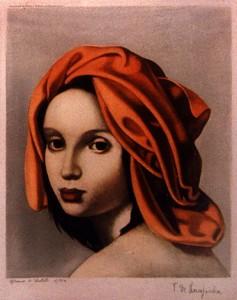 Woman wearing a turban di Tamara de Lempicka
